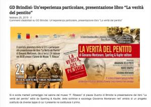 Brindisi Libera - un'esperienza particolare presentazione del libro La verità del Pentito - 25 febbraio 2015