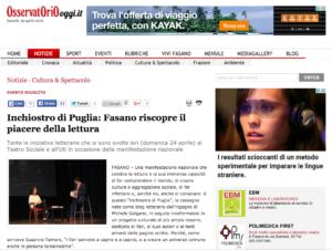 Inchiostro di Puglia - Osservatorio Oggi - 25 aprile 2016