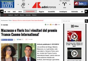 Premio Franco Cuomo International Award Giovanna Montanaro - AdnKronos 3 dicembre 2014
