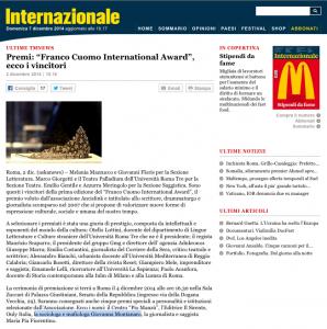 Premio Franco Cuomo International Award Giovanna Montanaro - Internazionale 2 dicembre 2014