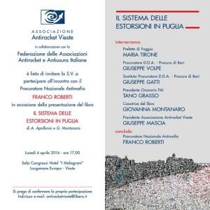 Il sistema delle estorsioni in Puglia - Antiracket - Vieste - 4 aprile 2016