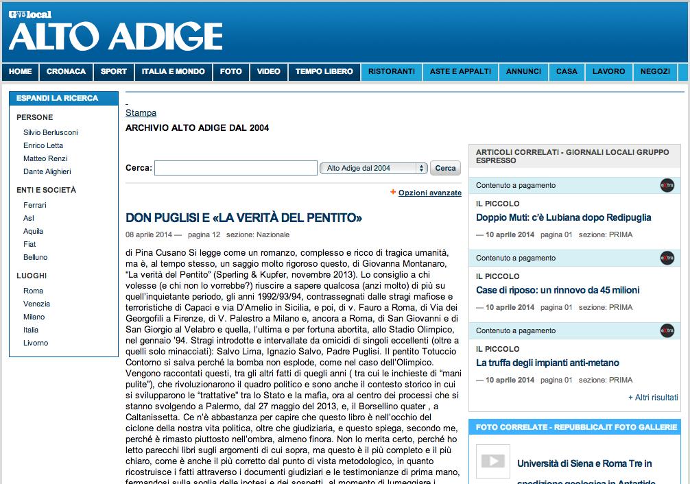La Verita del Pentito - Alto Adige 08 04 2014