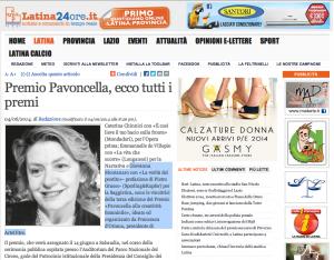Premio Pavoncella - Giovanna Montanaro - 4 giugno 2014 - Latina24ore