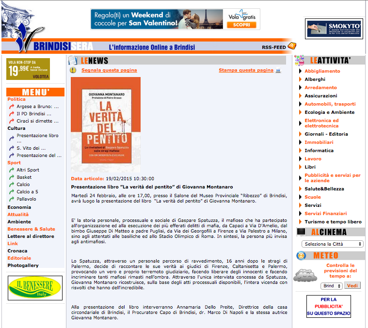 """Presentazione libro """"La verità del pentito"""" di Giovanna Montanaro"""